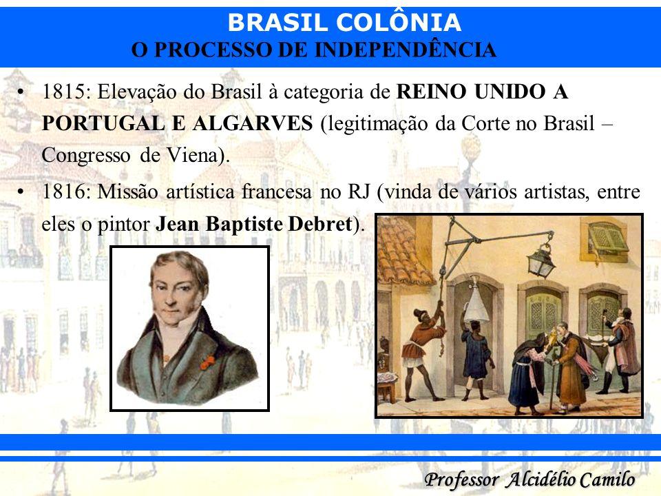 1815: Elevação do Brasil à categoria de REINO UNIDO A PORTUGAL E ALGARVES (legitimação da Corte no Brasil – Congresso de Viena).