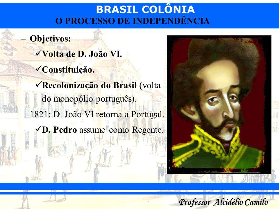 Objetivos:Volta de D. João VI. Constituição. Recolonização do Brasil (volta do monopólio português).