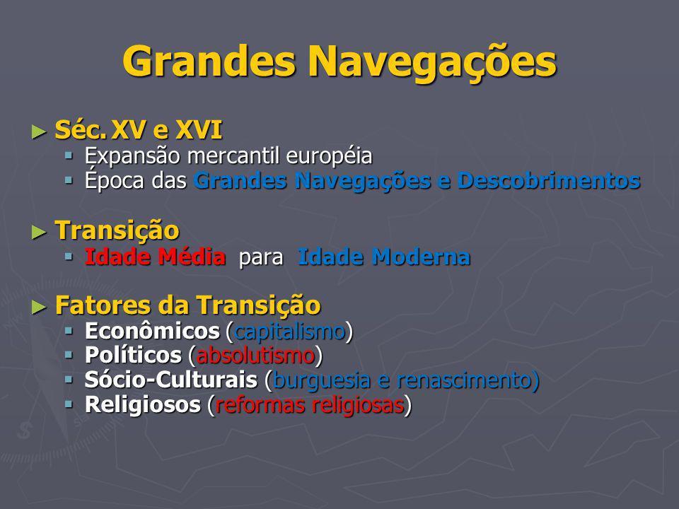 Grandes Navegações Séc. XV e XVI Transição Fatores da Transição