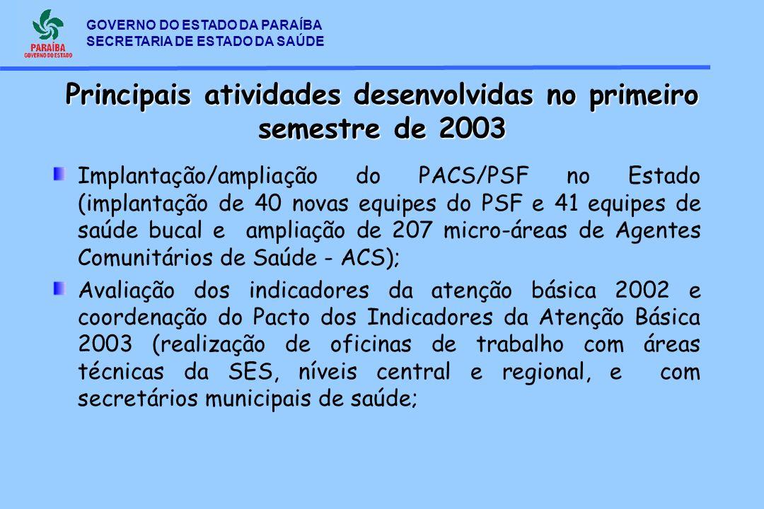 Principais atividades desenvolvidas no primeiro semestre de 2003