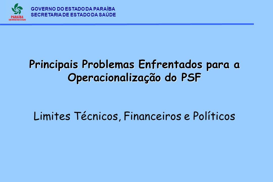 Principais Problemas Enfrentados para a Operacionalização do PSF