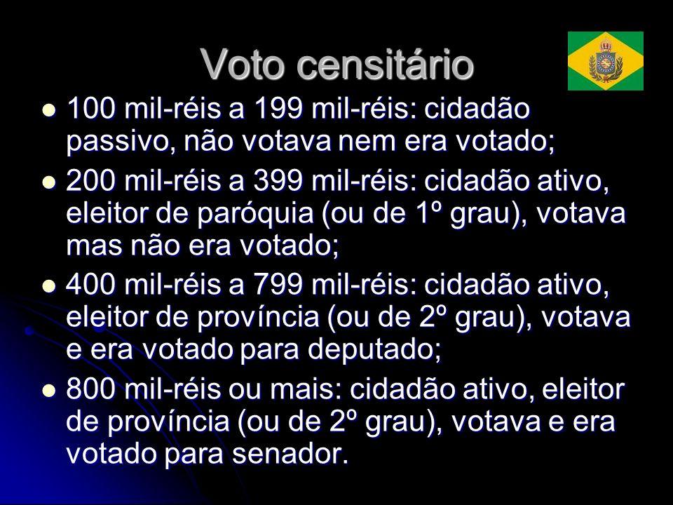 Voto censitário 100 mil-réis a 199 mil-réis: cidadão passivo, não votava nem era votado;