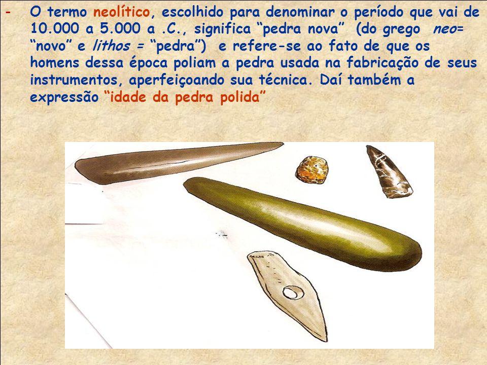 O termo neolítico, escolhido para denominar o período que vai de 10