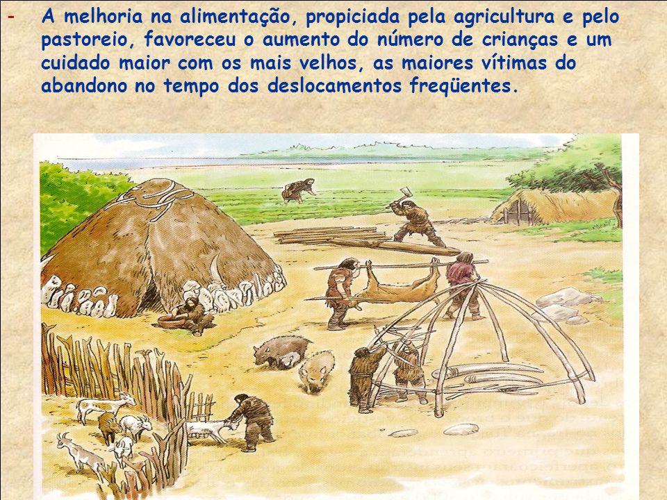 A melhoria na alimentação, propiciada pela agricultura e pelo pastoreio, favoreceu o aumento do número de crianças e um cuidado maior com os mais velhos, as maiores vítimas do abandono no tempo dos deslocamentos freqüentes.