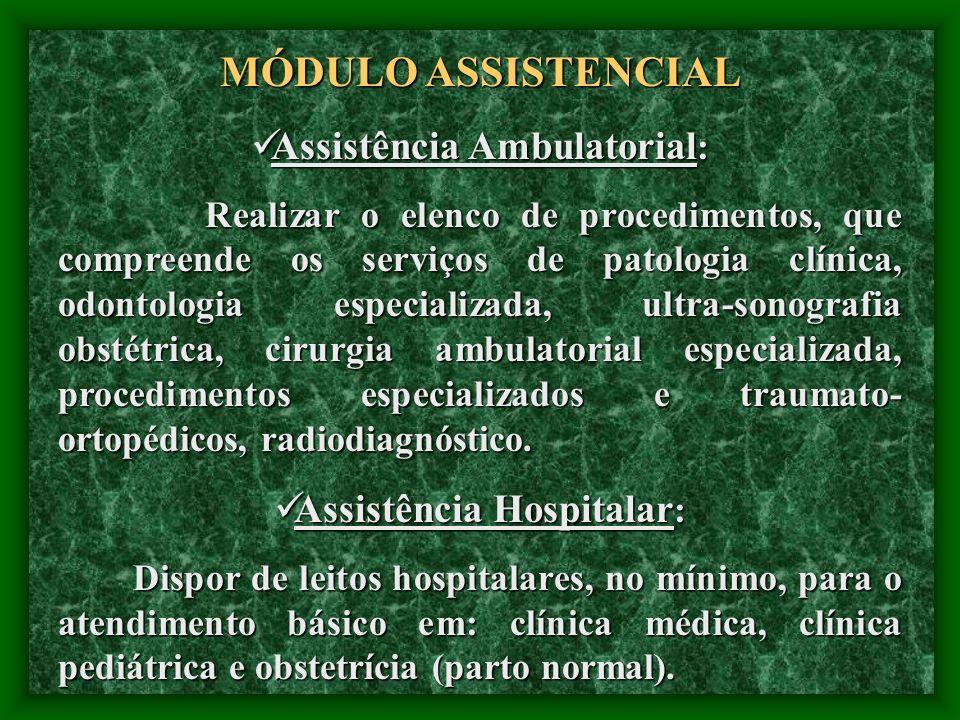 Assistência Ambulatorial: Assistência Hospitalar: