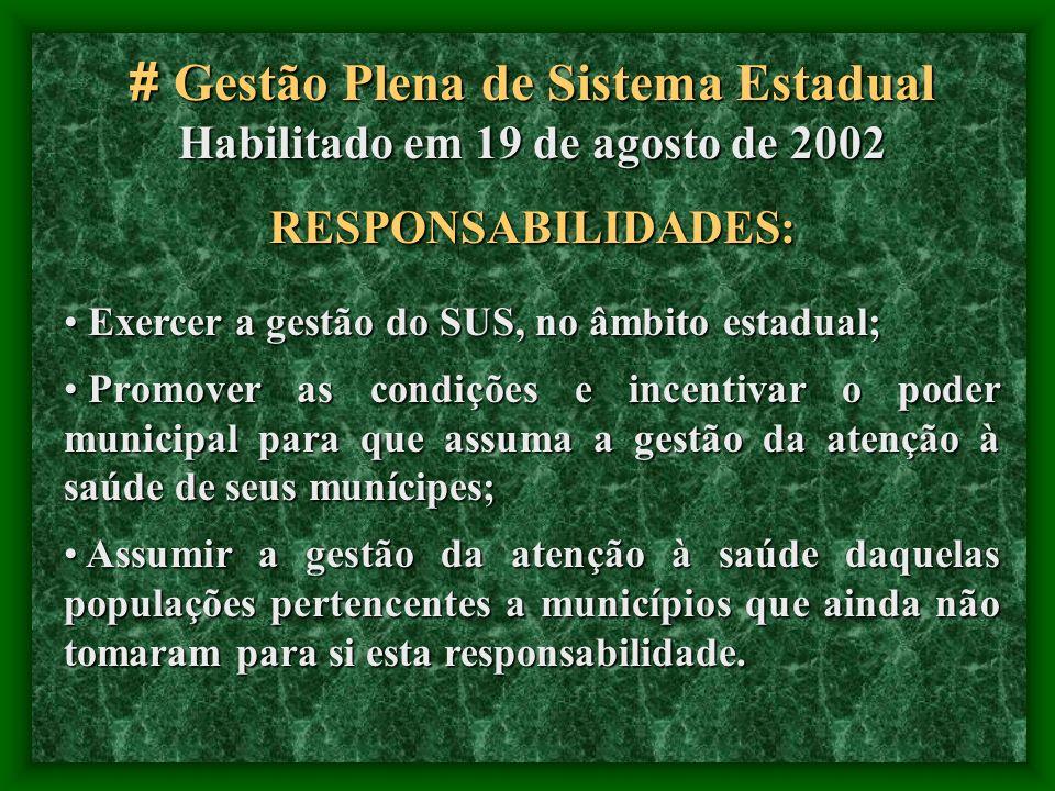 # Gestão Plena de Sistema Estadual Habilitado em 19 de agosto de 2002