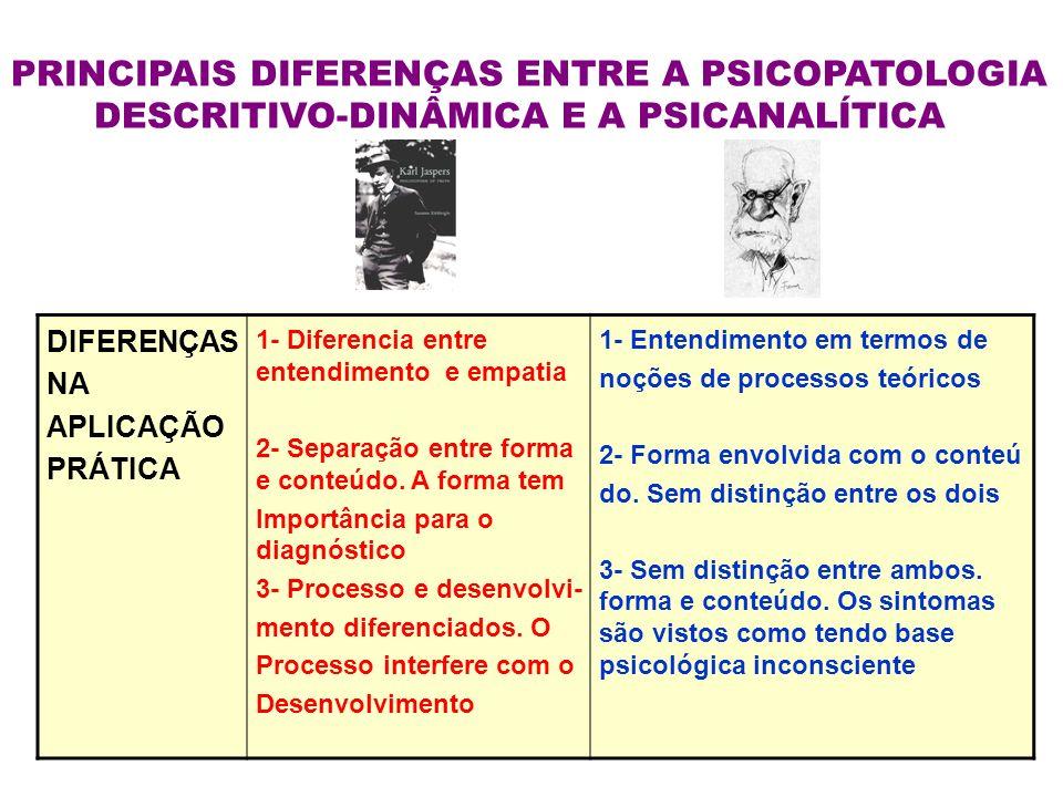 PRINCIPAIS DIFERENÇAS ENTRE A PSICOPATOLOGIA