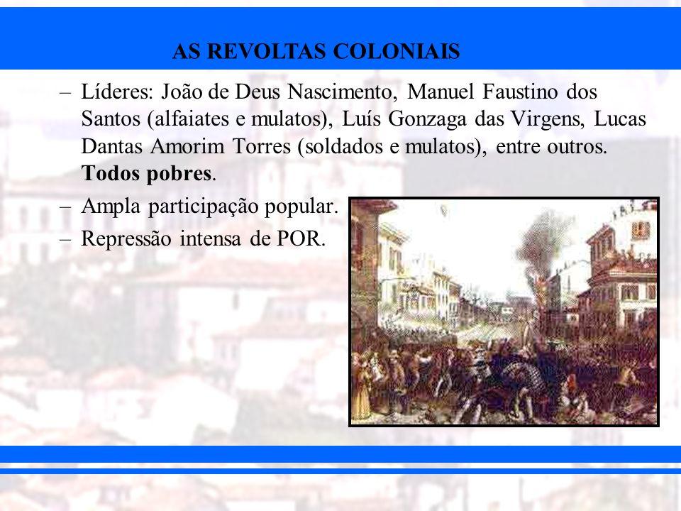 Líderes: João de Deus Nascimento, Manuel Faustino dos Santos (alfaiates e mulatos), Luís Gonzaga das Virgens, Lucas Dantas Amorim Torres (soldados e mulatos), entre outros. Todos pobres.