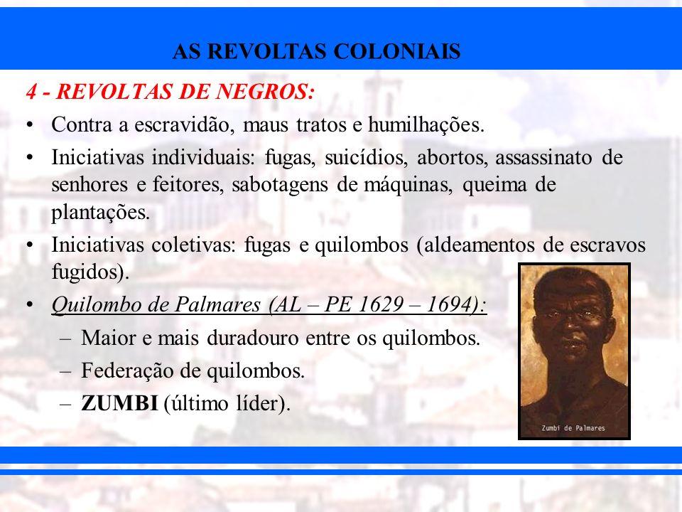 4 - REVOLTAS DE NEGROS:Contra a escravidão, maus tratos e humilhações.
