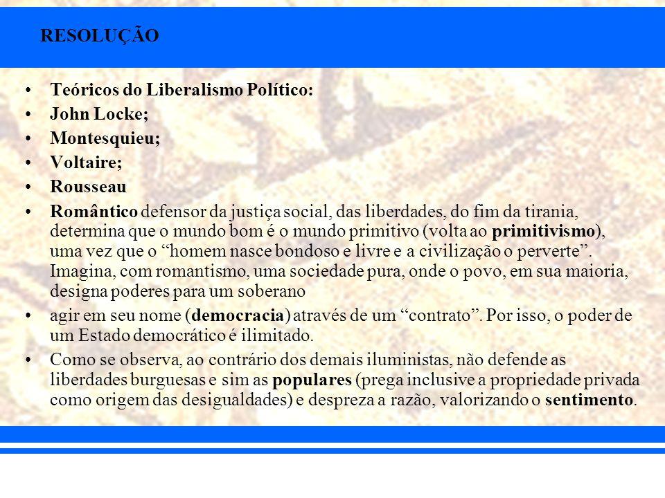 RESOLUÇÃO Teóricos do Liberalismo Político: John Locke; Montesquieu; Voltaire; Rousseau.