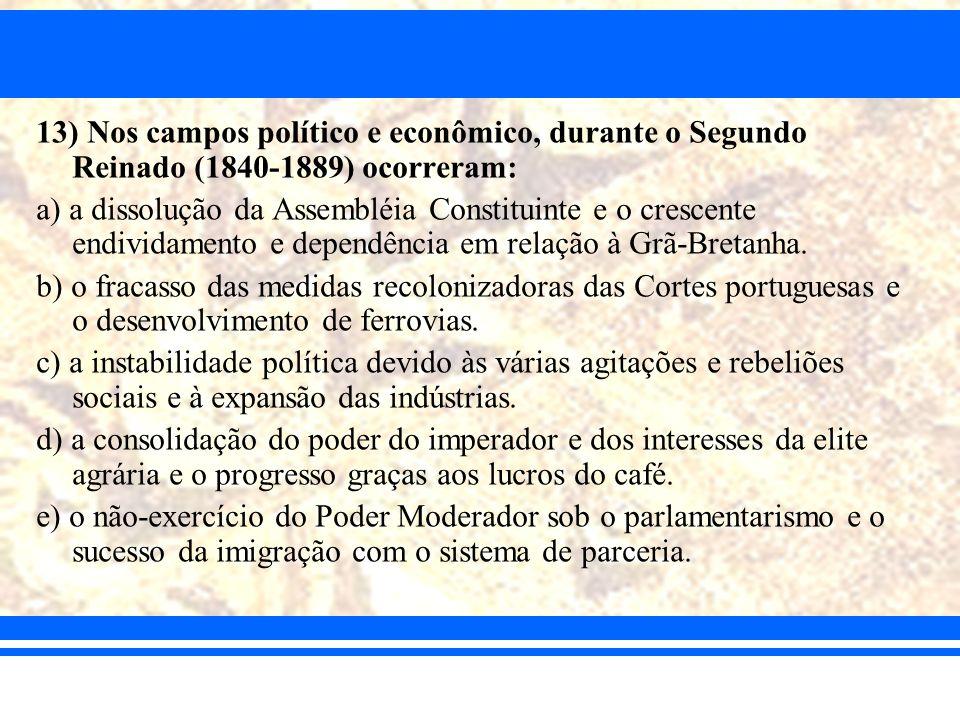 13) Nos campos político e econômico, durante o Segundo Reinado (1840-1889) ocorreram: