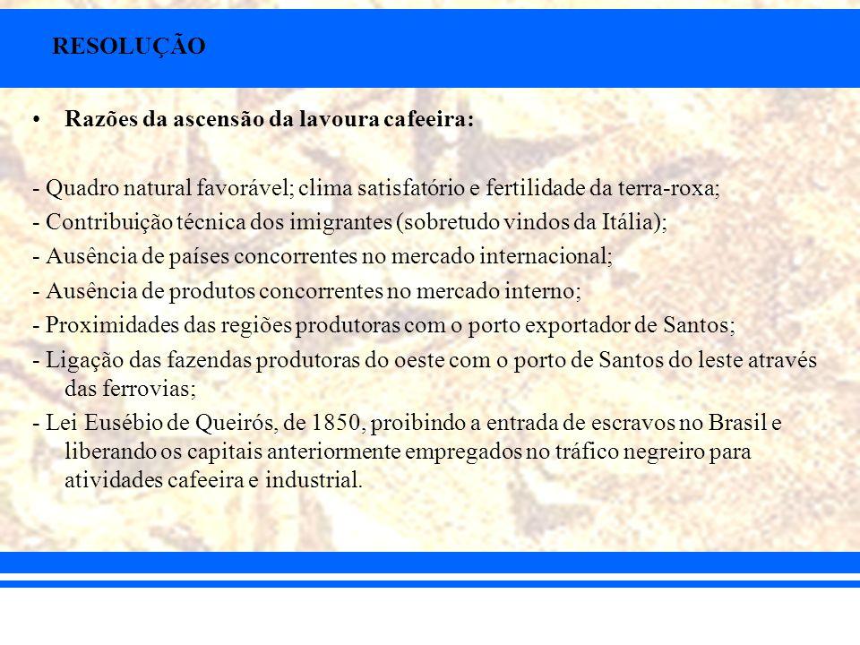 RESOLUÇÃO Razões da ascensão da lavoura cafeeira: - Quadro natural favorável; clima satisfatório e fertilidade da terra-roxa;