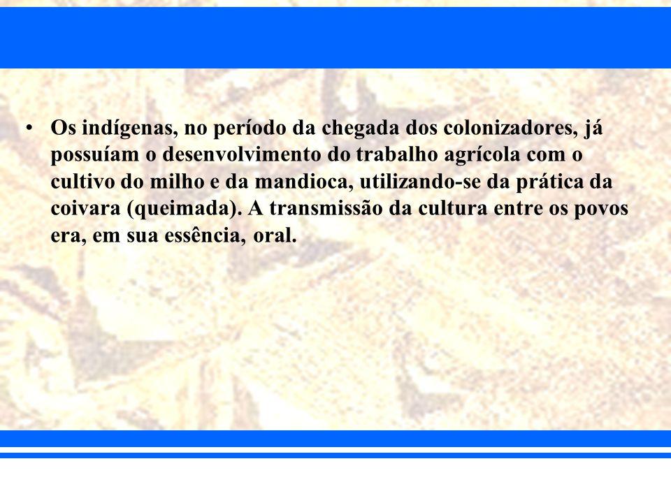 Os indígenas, no período da chegada dos colonizadores, já possuíam o desenvolvimento do trabalho agrícola com o cultivo do milho e da mandioca, utilizando-se da prática da coivara (queimada).