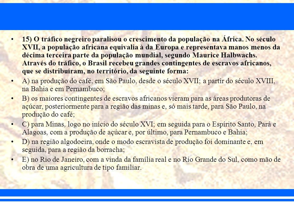 15) O tráfico negreiro paralisou o crescimento da população na África