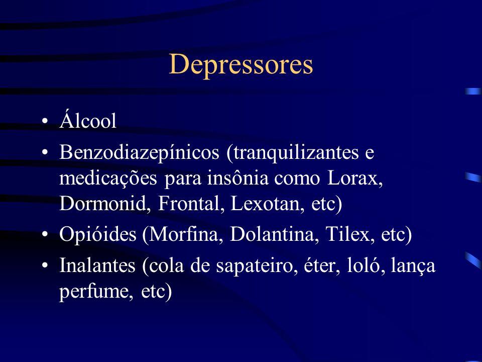 Depressores Álcool. Benzodiazepínicos (tranquilizantes e medicações para insônia como Lorax, Dormonid, Frontal, Lexotan, etc)