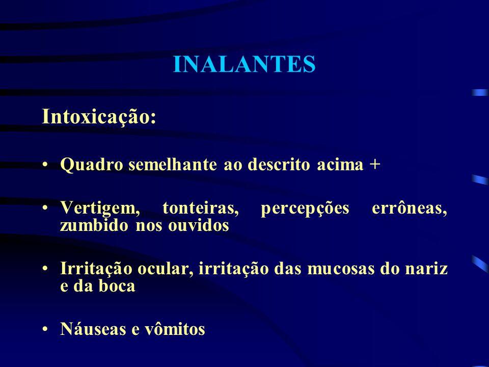 INALANTES Intoxicação: Quadro semelhante ao descrito acima +