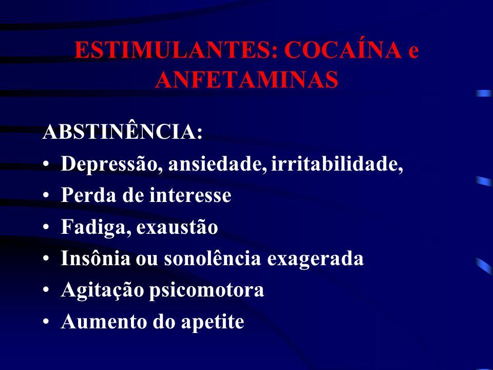 ESTIMULANTES: COCAÍNA e ANFETAMINAS