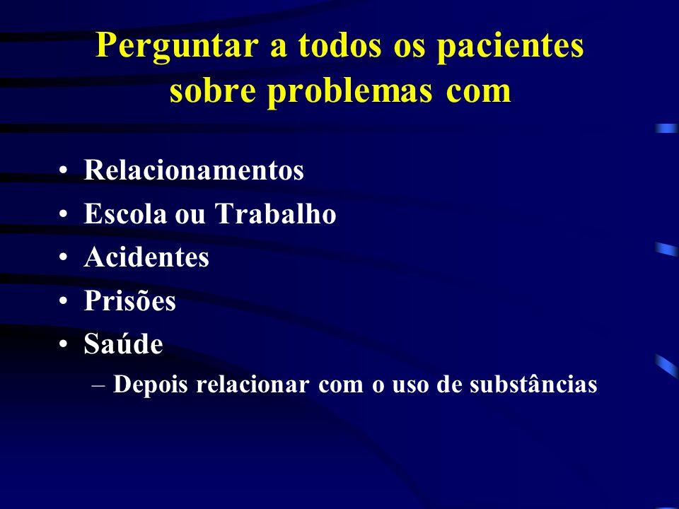 Perguntar a todos os pacientes sobre problemas com