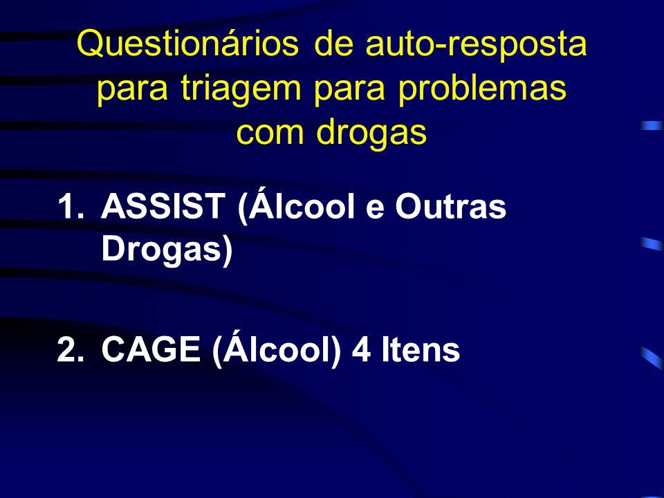 Questionários de auto-resposta para triagem para problemas com drogas