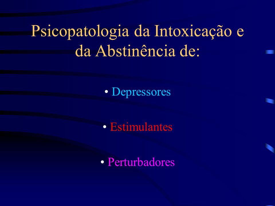 Psicopatologia da Intoxicação e da Abstinência de: