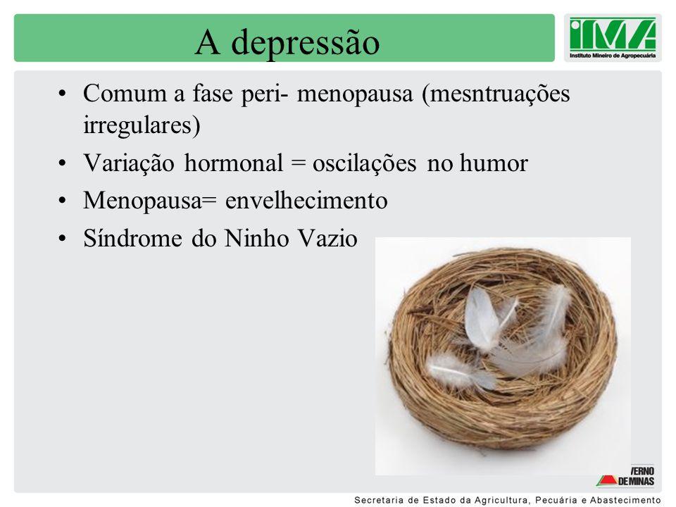 A depressão Comum a fase peri- menopausa (mesntruações irregulares)