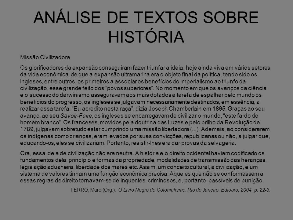 ANÁLISE DE TEXTOS SOBRE HISTÓRIA