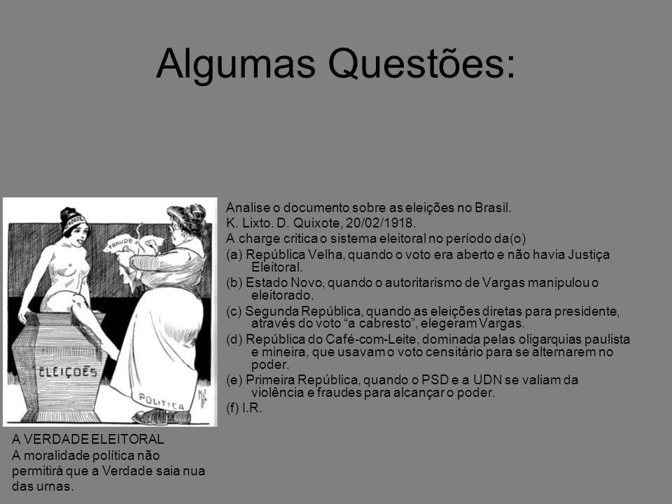 Algumas Questões: Analise o documento sobre as eleições no Brasil.