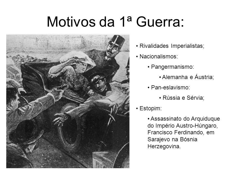 Motivos da 1ª Guerra: Rivalidades Imperialistas; Nacionalismos: