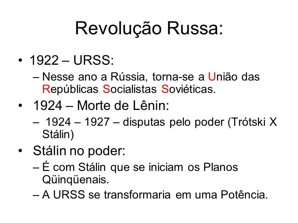 Revolução Russa: 1922 – URSS: 1924 – Morte de Lênin: Stálin no poder: