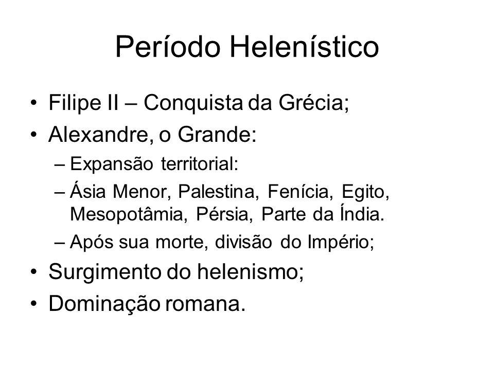 Período Helenístico Filipe II – Conquista da Grécia;