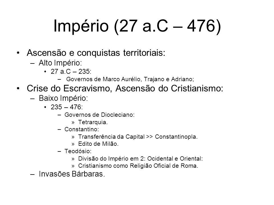Império (27 a.C – 476) Ascensão e conquistas territoriais: