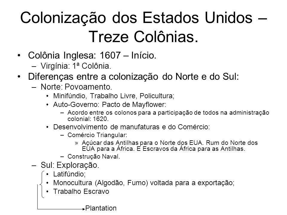 Colonização dos Estados Unidos – Treze Colônias.