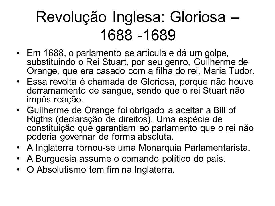Revolução Inglesa: Gloriosa – 1688 -1689