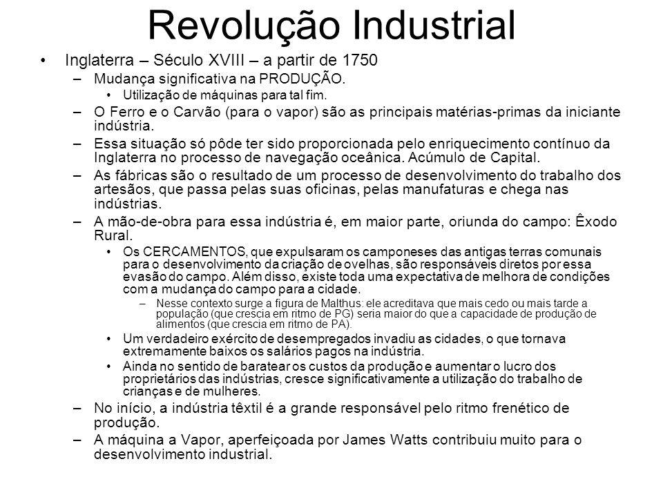 Revolução Industrial Inglaterra – Século XVIII – a partir de 1750