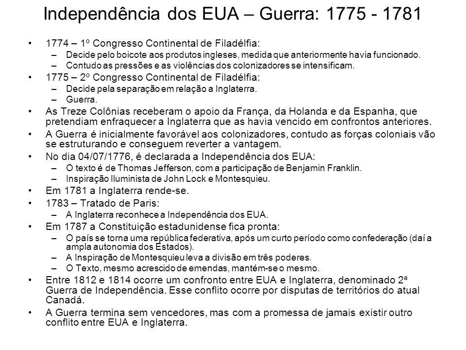 Independência dos EUA – Guerra: 1775 - 1781