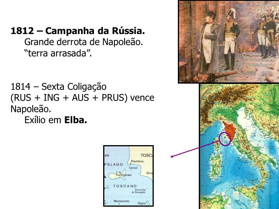 1812 – Campanha da Rússia.Grande derrota de Napoleão. terra arrasada . 1814 – Sexta Coligação. (RUS + ING + AUS + PRUS) vence Napoleão.