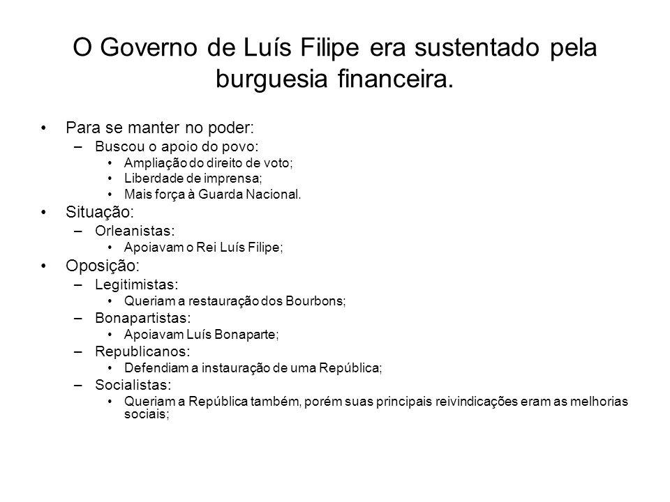O Governo de Luís Filipe era sustentado pela burguesia financeira.
