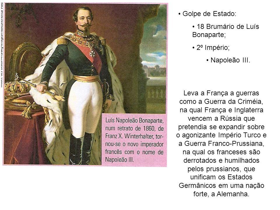 Golpe de Estado:18 Brumário de Luís Bonaparte; 2º Império; Napoleão III.