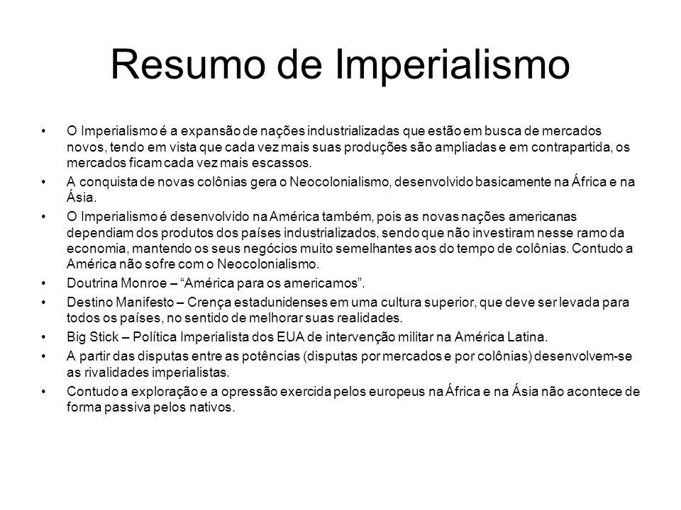 Resumo de Imperialismo