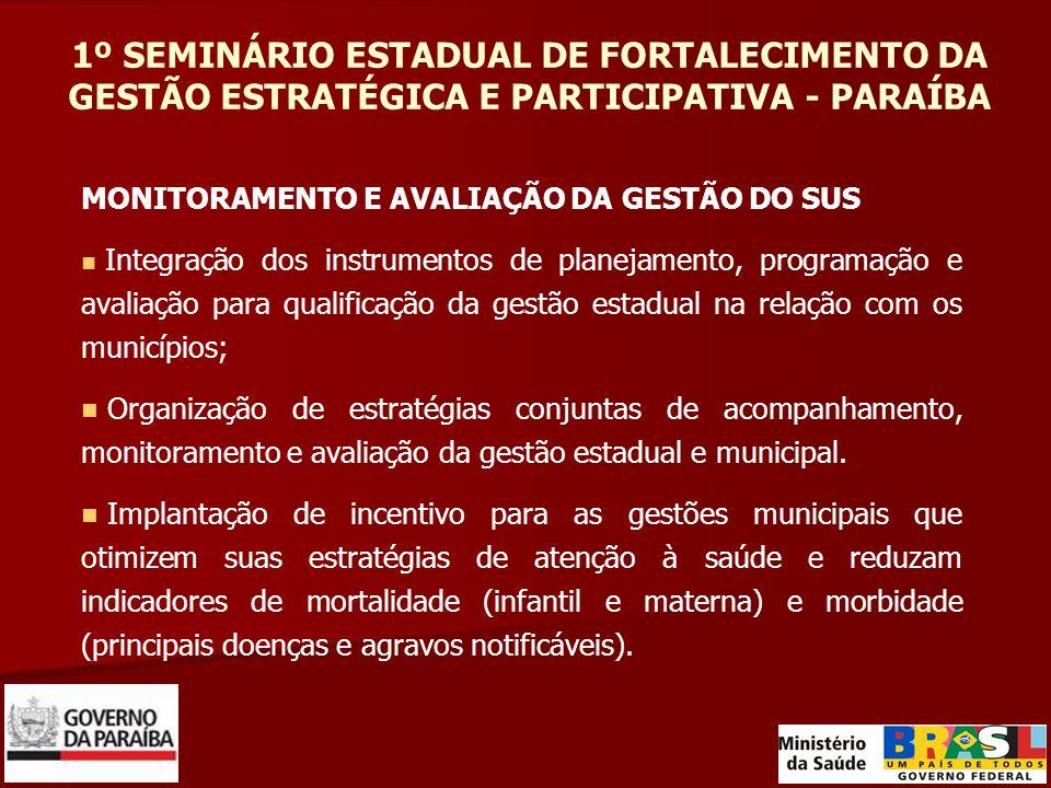 1º SEMINÁRIO ESTADUAL DE FORTALECIMENTO DA GESTÃO ESTRATÉGICA E PARTICIPATIVA - PARAÍBA