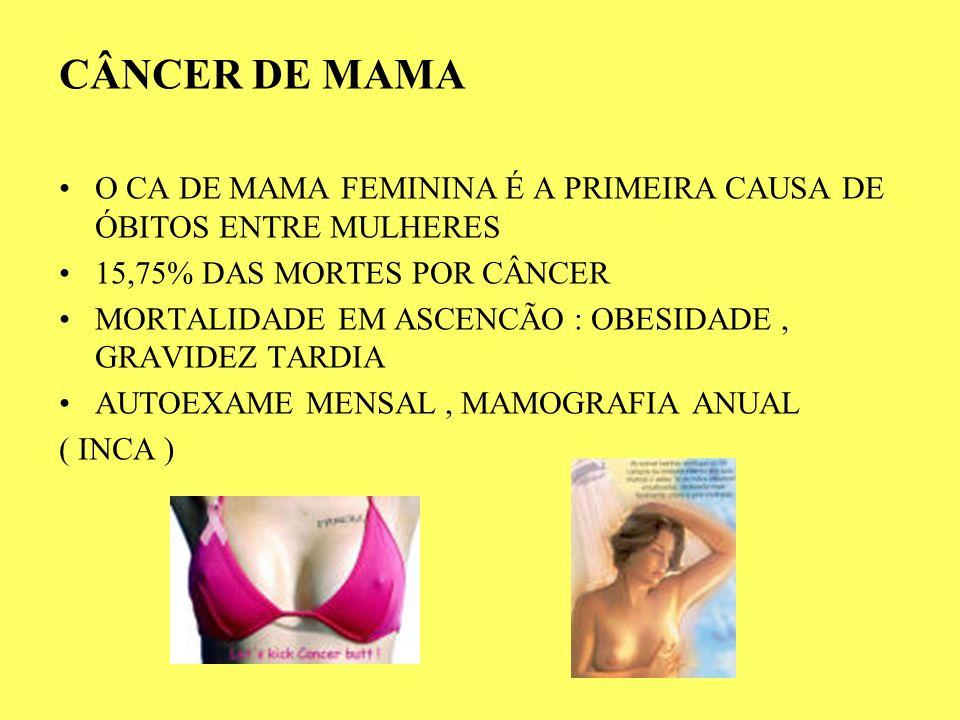 CÂNCER DE MAMA O CA DE MAMA FEMININA É A PRIMEIRA CAUSA DE ÓBITOS ENTRE MULHERES. 15,75% DAS MORTES POR CÂNCER.