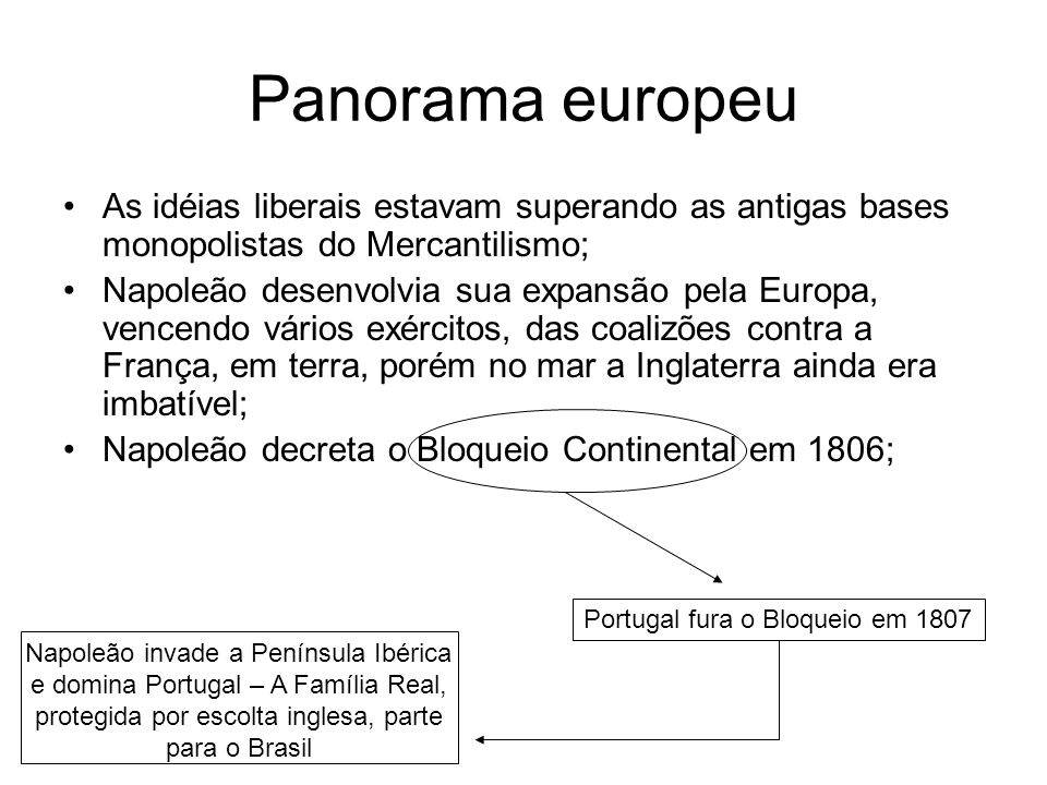 Panorama europeu As idéias liberais estavam superando as antigas bases monopolistas do Mercantilismo;