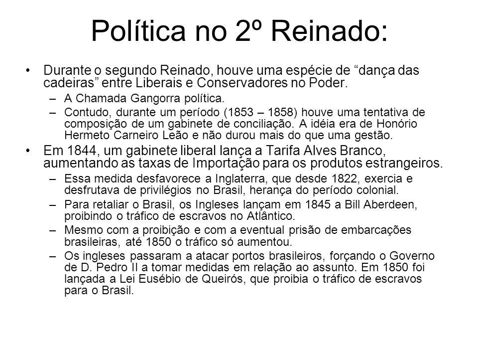 Política no 2º Reinado: Durante o segundo Reinado, houve uma espécie de dança das cadeiras entre Liberais e Conservadores no Poder.