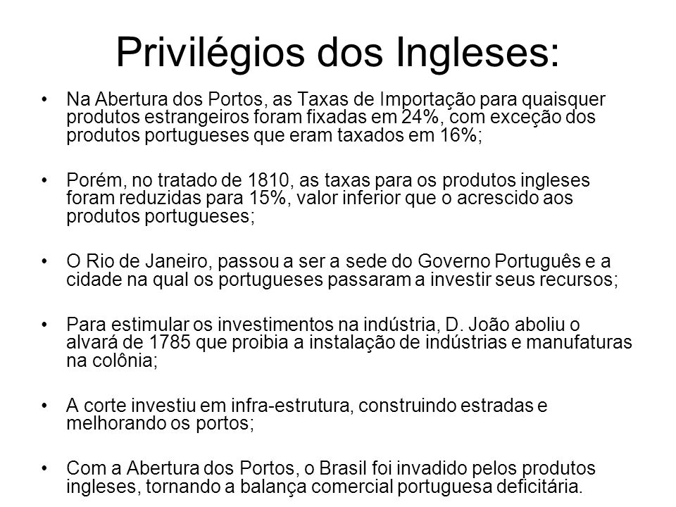 Privilégios dos Ingleses: