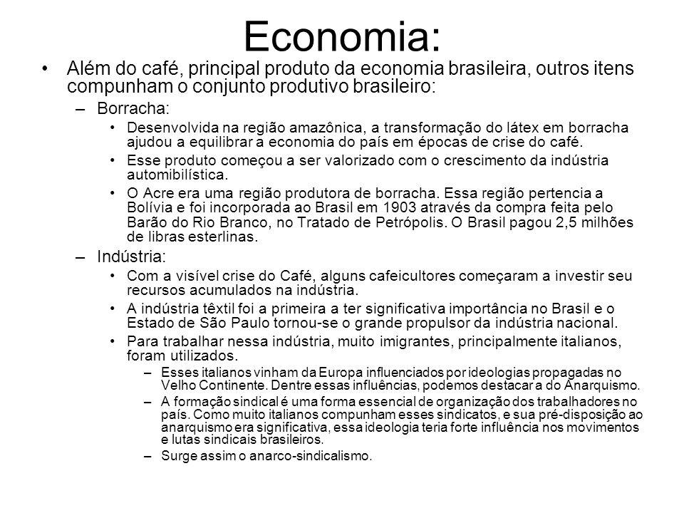 Economia: Além do café, principal produto da economia brasileira, outros itens compunham o conjunto produtivo brasileiro: