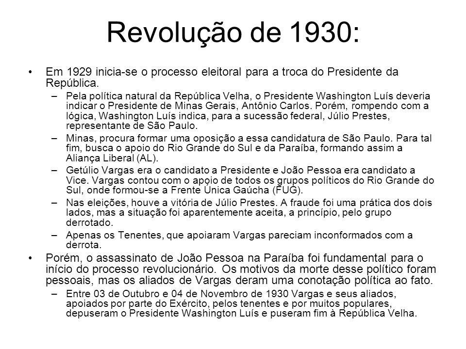 Revolução de 1930: Em 1929 inicia-se o processo eleitoral para a troca do Presidente da República.