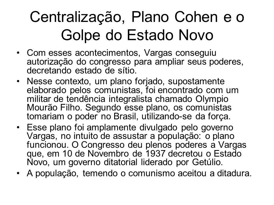 Centralização, Plano Cohen e o Golpe do Estado Novo