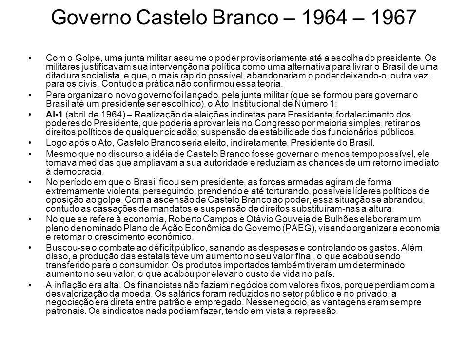 Governo Castelo Branco – 1964 – 1967