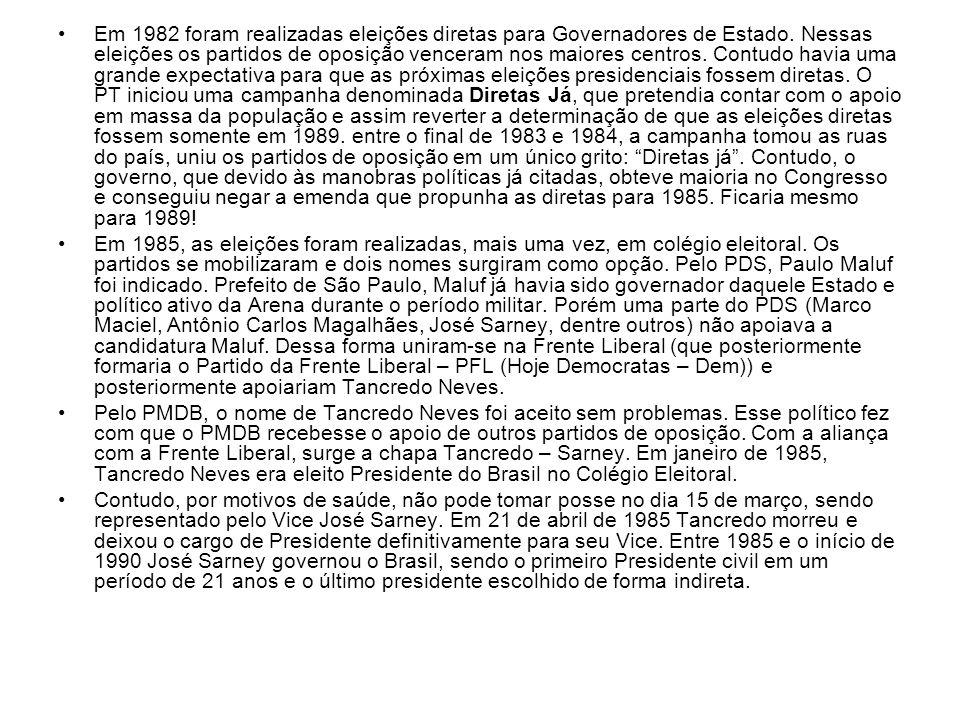 Em 1982 foram realizadas eleições diretas para Governadores de Estado