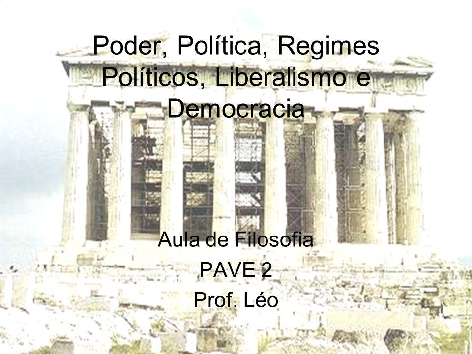 Poder, Política, Regimes Políticos, Liberalismo e Democracia
